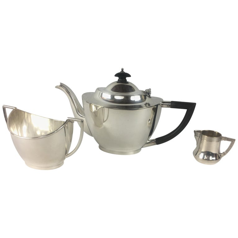 French Art Deco Silver Plated Tea Service, 3 Pieces For Sale