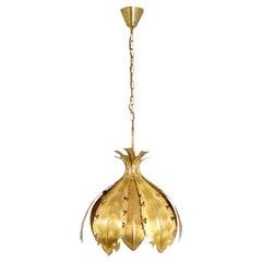 Holm Sorensen & Co., Flower-Shaped Gilt Brass Chandelier, 1970s
