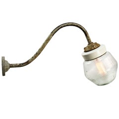 White Porcelain Vintage Industrial Frosted Glass Cast Iron Wall Lights