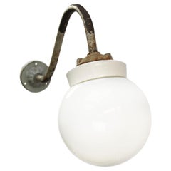 White Porcelain Vintage Industrial Opaline Glass Cast Iron Wall Lights