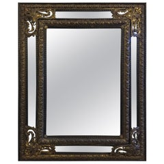 Antique Flemish Ebonised Cushion Mirror, circa 1880