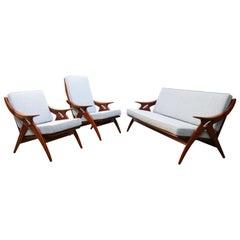"""Dutch Design Living Room Set ''De Knoop"""" by De Ster Gelderland 1960s Teak Grey"""