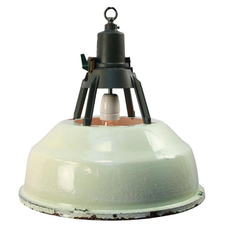Green Enamel Vintage Industrial Aluminum Top Pendant Lights For Sale