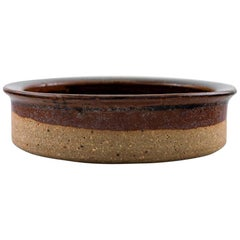 Helle Alpass '1932-2000', Low Bowl of Raw and Glazed Stoneware in Brown Shades