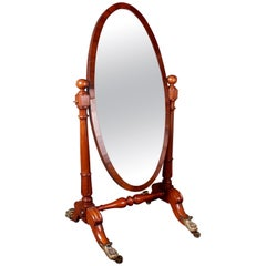William IV Mahogany Cheval Mirror with Gilt Metal Lions Paw Feet
