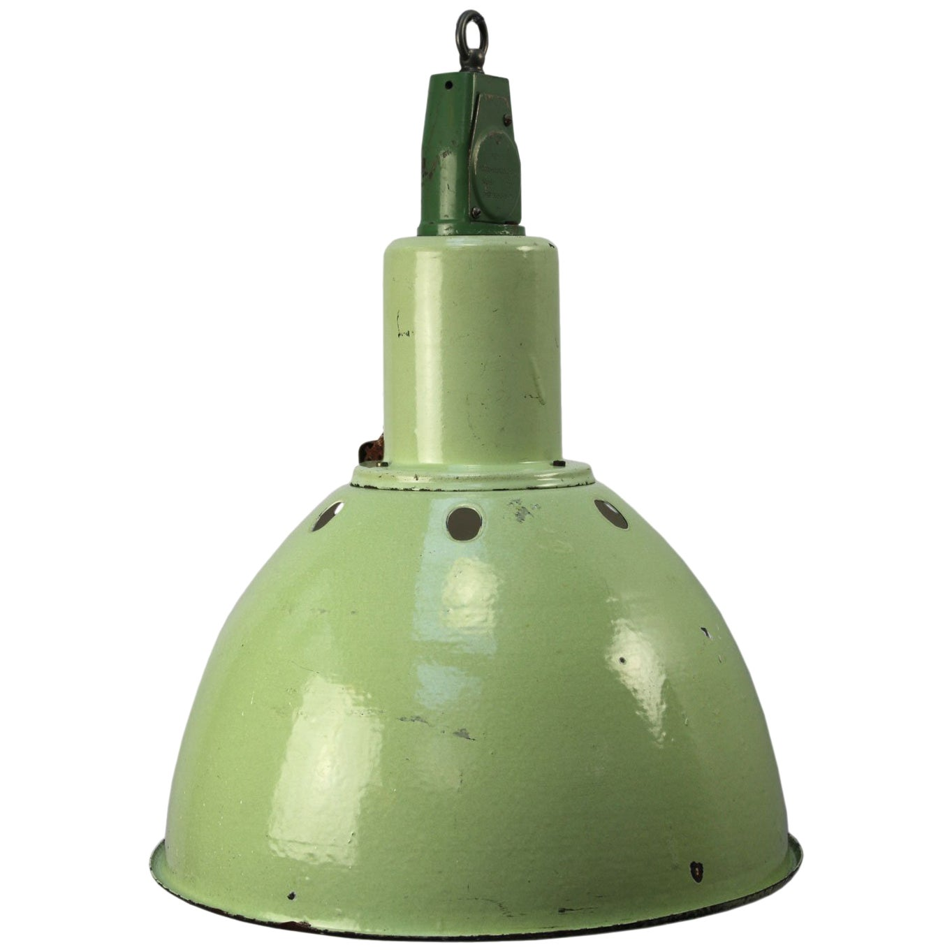 Green Enamel Vintage Industrial Cast Aluminium Top Pendant Light