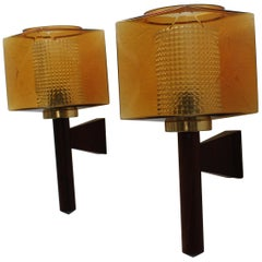 Carl Fagerlund Wall Sconces for Orrefors, Sweden, 1960