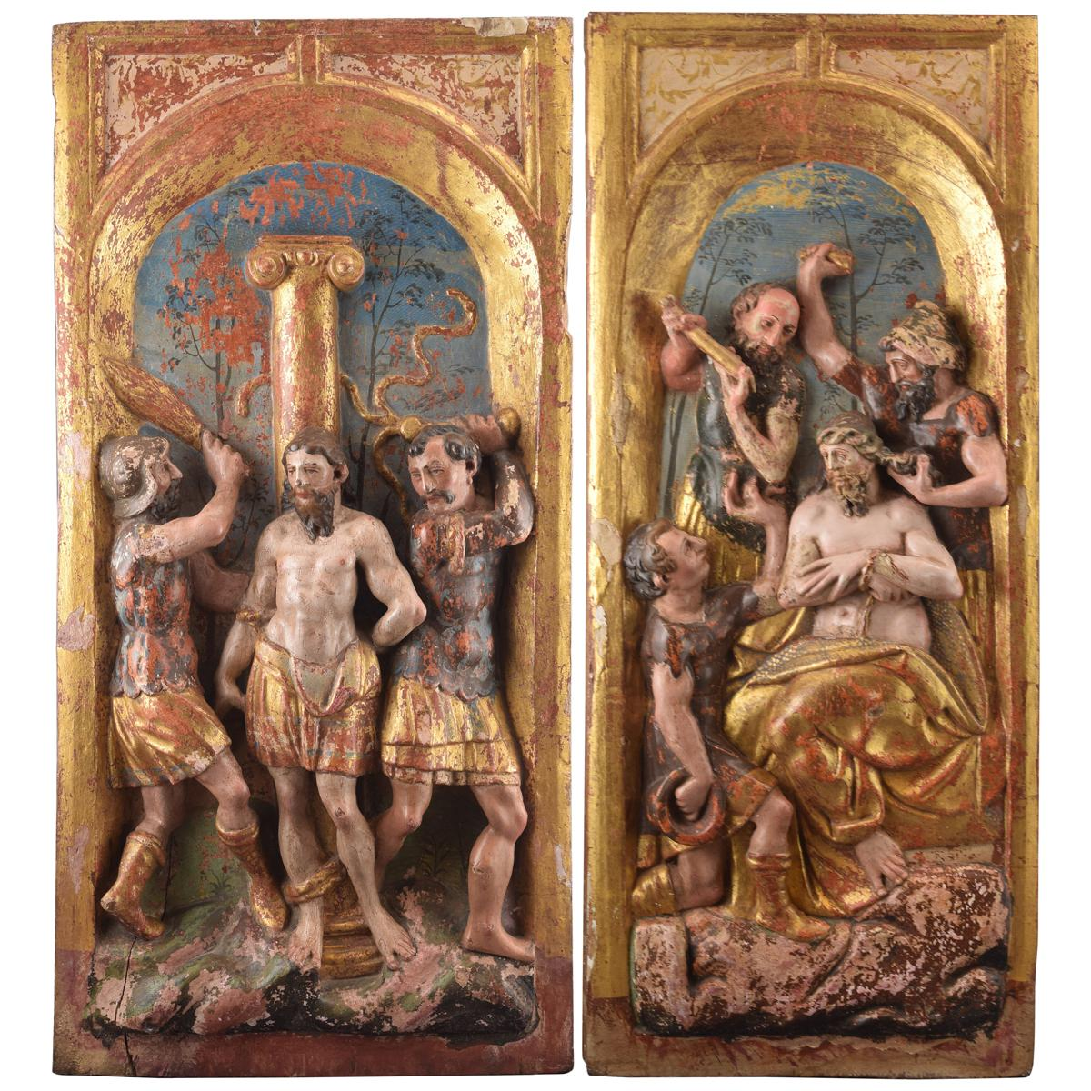 Pair of Reliefs, Polychromed and Giltwood, Castilian School, Spain, 16th Century