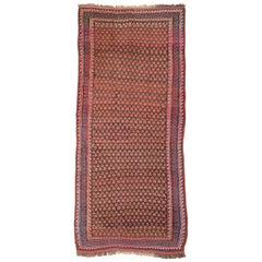 Antique West Persian Kurd Red and Pink Floor Rug