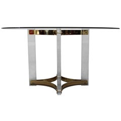 Lucite and Brass Table by Romeo Rega