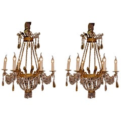 Pair of Small Chandeliers, Brass and Handcut Crystal, 19th Century