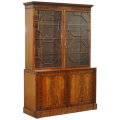 Very Rare Gillows Astral Glazed Mahogany Bookcase Cabinet Original Paper Labels