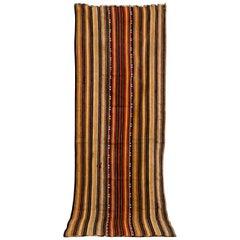 Vintage Moroccan Handwoven Brown Striped Kilim Rug Floor Runner