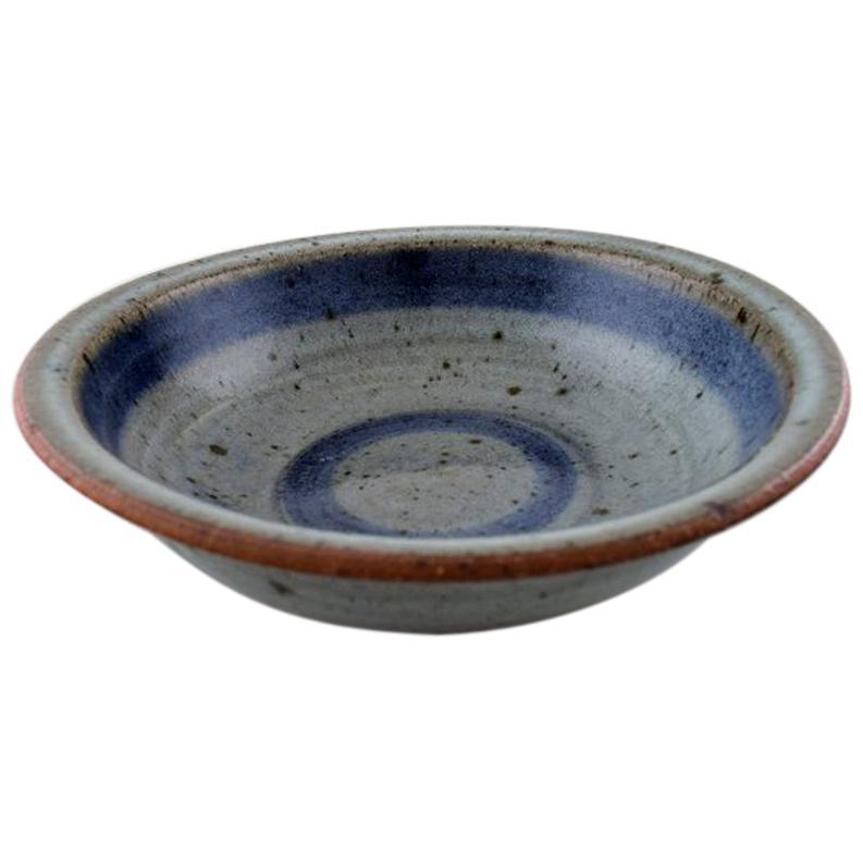 Helle Alpass (1932-2000), Low Bowl of Glazed Stoneware in Beautiful Blue, Grey