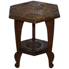 Medium Sized 1905 Liberty's London Japanese Carved Jardiniere Plant Bust Stand