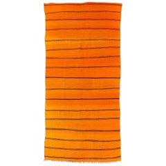 Vintage Moroccan Large Orange Wool Kilim Floor Rug