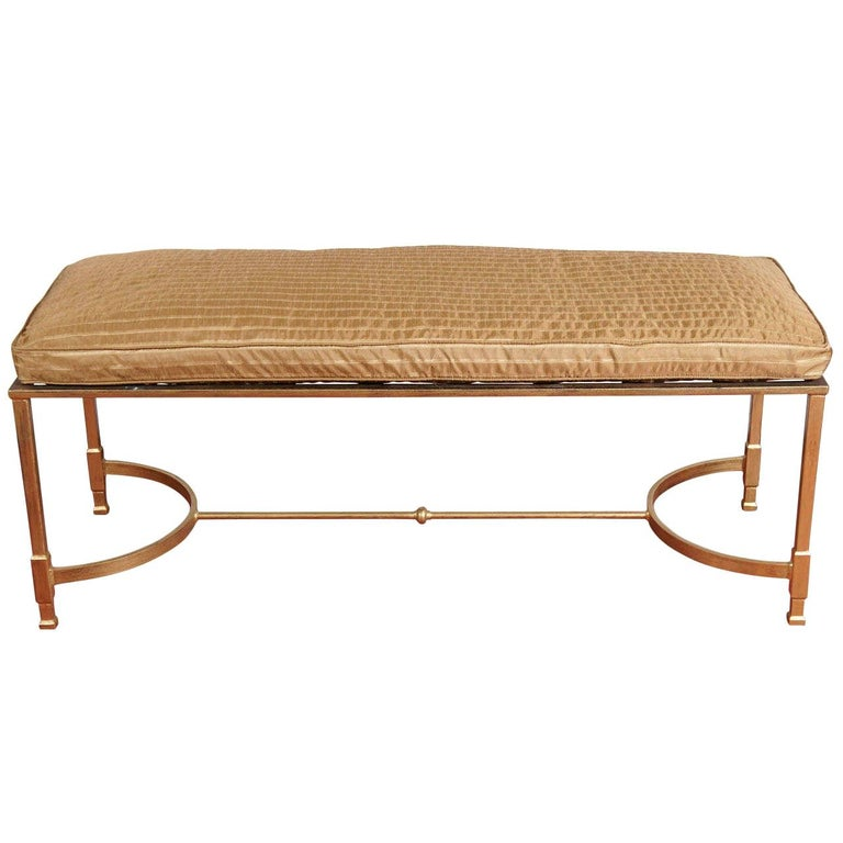 Custom Made Neoclassical Style Metal Bench or Coffee Table For Sale