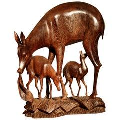1960s Carved Wenge Wood Deer