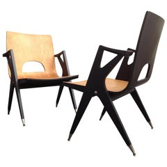 2 Very Rare Easy Chairs by Malatesta and Mason, Early 1950s