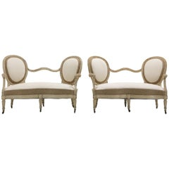 Pair of French 19th Century Painted Sofas Burlap and Cream Calico Fabric