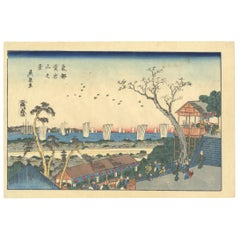 Eisen, Landscape, Original Japanese Woodblock Print, Ukiyo-e, Edo, Sea, Sunset