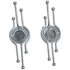 Pair of Steel Italian Sconces Sculptural Form Glass Lens 1970 Stilkronen