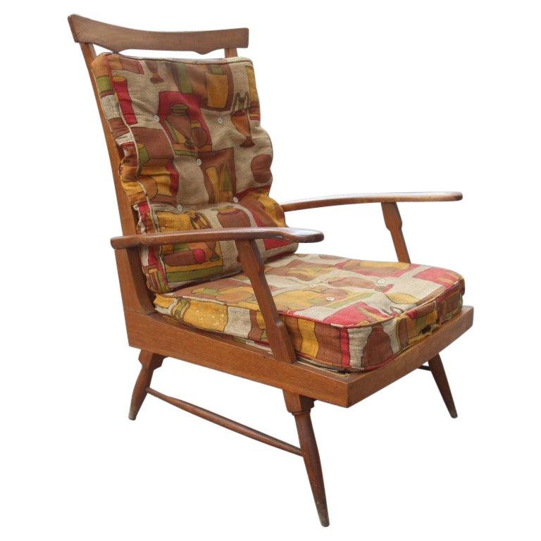 Midcentury Italian Design Reclining Chestnut Armchair 1950s Shaped Paolo Buffa