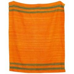Vintage Moroccan Handmade Orange Wool Kilim Floor Rug or Blanket