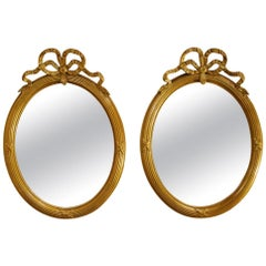 Antique Pair of Louis Seize Tied Ribbon Gold Gilt Mirrors