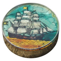 Brass Tobacco Box with Gold Green Black Sailing Ship Decoration Jack Frost