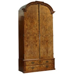 Rare circa 1920s Art Decor Burr Quarter Cut Walnut Large Wardrobe Armoire