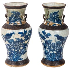 Pair of Chinese Blue and White Crackelware Vases, circa 1900
