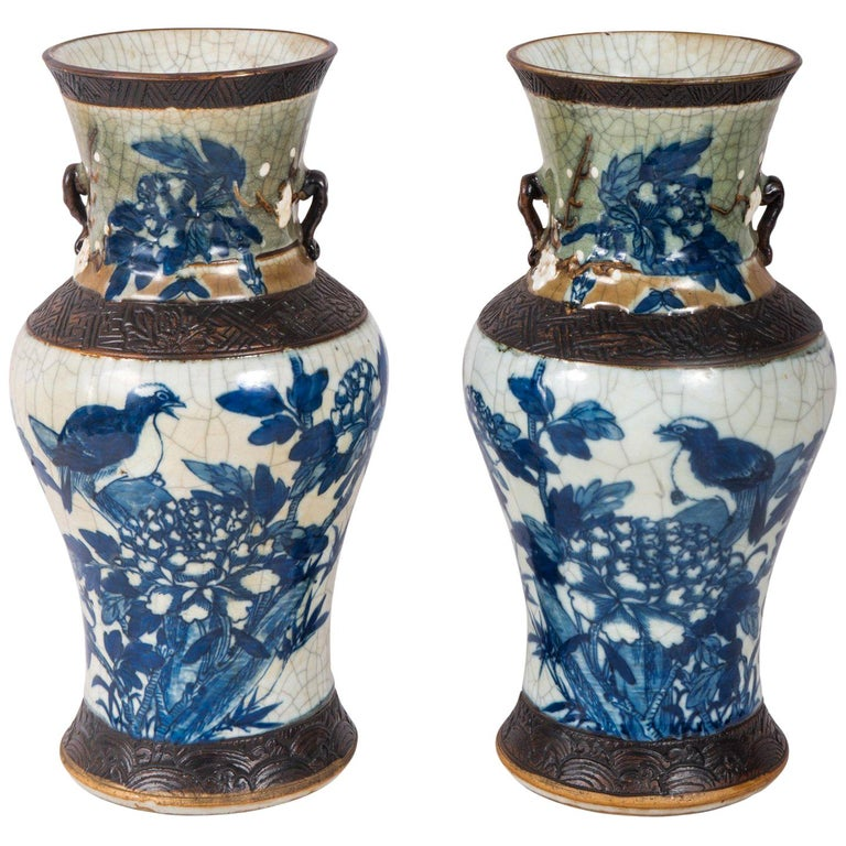 Pair of Chinese Blue and White Crackelware Vases, circa 1900 For Sale