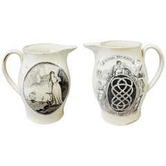 """English Large Creamware Jug decorated with the """"Endless Knot of Love"""" Pattern,"""