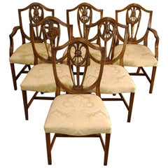 Six-Pieces Set Sheraton Style Bevan Funnel Reprodux Mahogany Dining Chairs