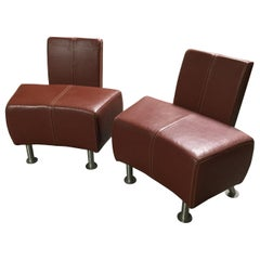 Super Cool Mid-Century Modern Italian Leather Chairs