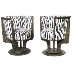 Pair of Paul Evans Sculpted Bronze Chairs
