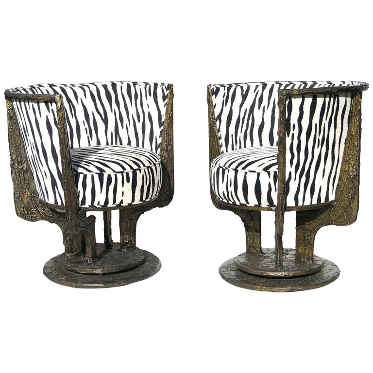 Pair of Paul Evans Sculpted Bronze Chairs For Sale