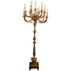 Midcentury Brass and Marble Floor Lamp or Candelabra