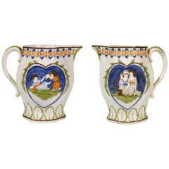 Prattware Pearlware Jug with Children with Heart-Shaped Panels, 1810-1820