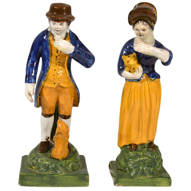 Staffordshire Pearlware Figures of Man & Woman with a Pet Dog & Cat, circa 1810 For Sale