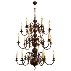 Tall 3-Tier Patinated Brass Dutch Chandelier with 18 Lights