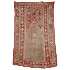 Antique Central Anatolian Kilim Prayer Rug in Soft Muted Colors