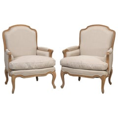 French Style Louis XV Bergère Chair Made of White Oak and Upholstered in Linen