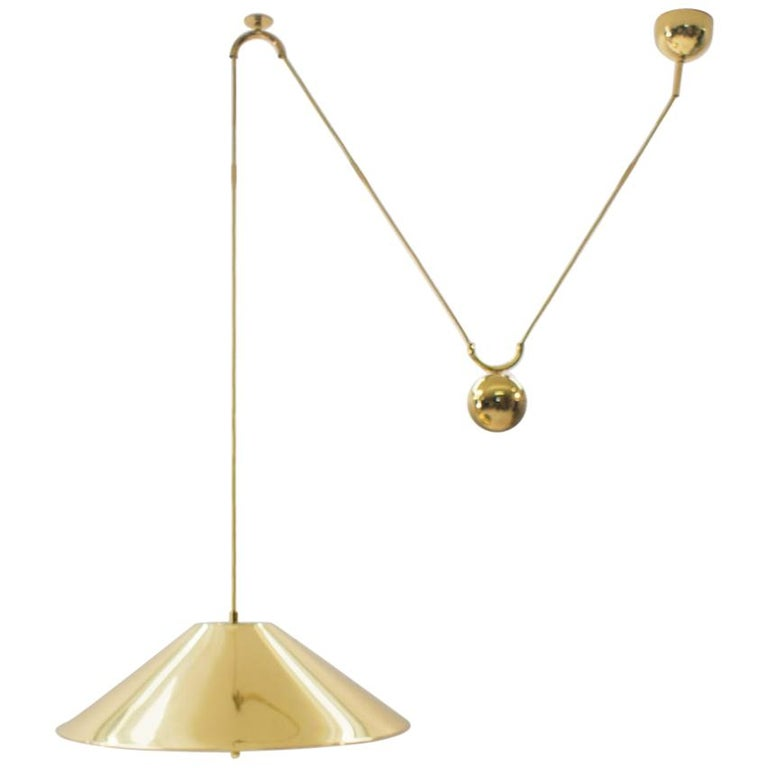 Large Midcentury Counterweight Brass Pendant Lamp, Germany, 1970s For Sale