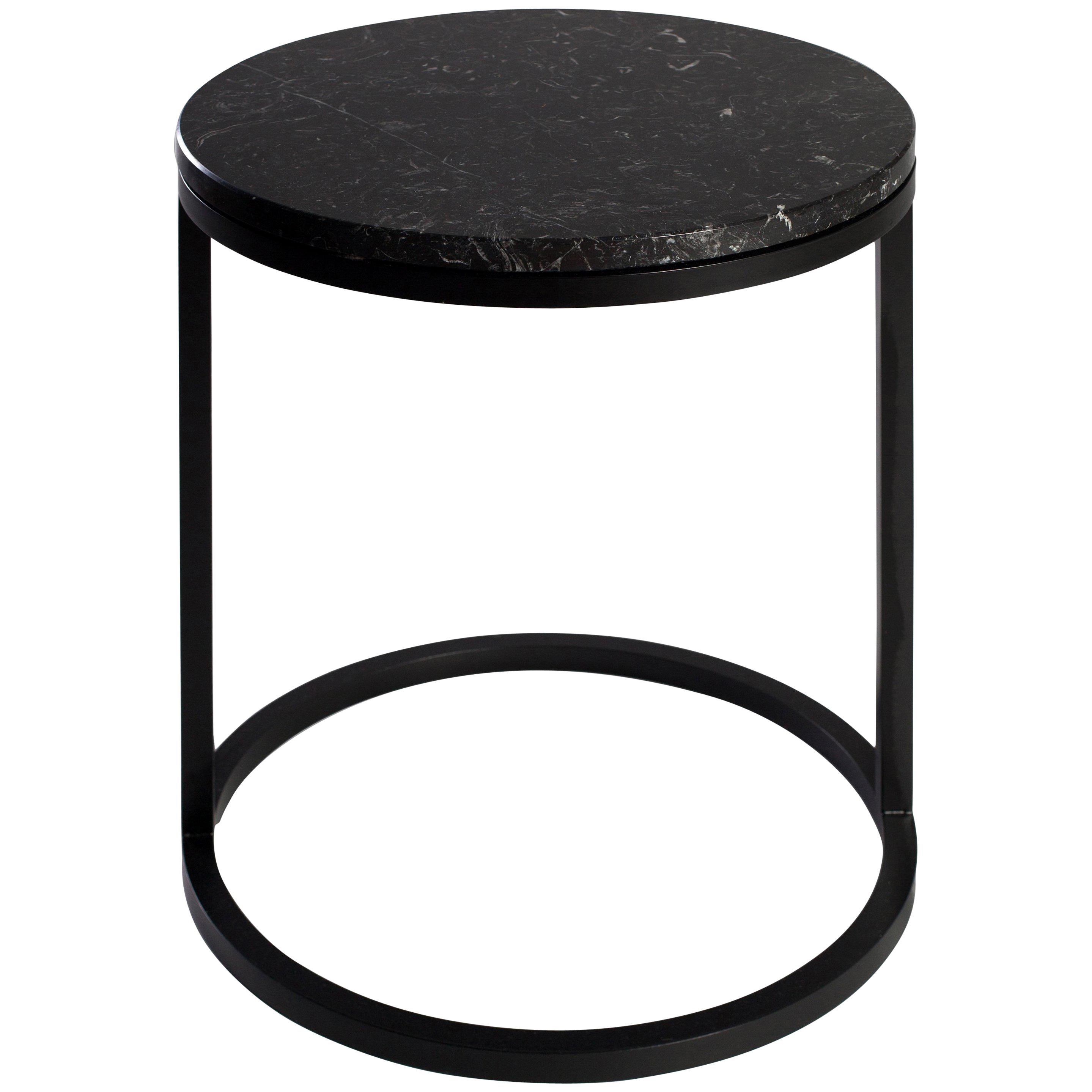 Modern Diana Round Coffee Table in Brass Tinted and Black Marquina Marble
