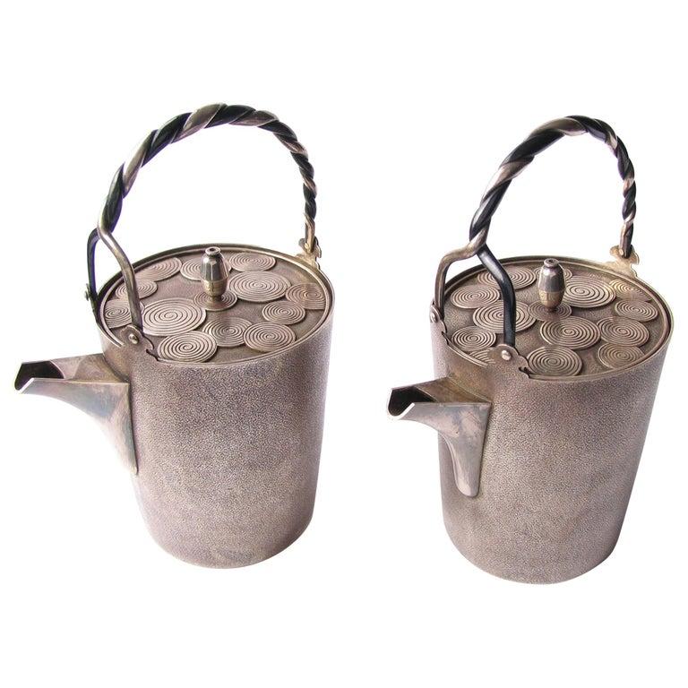 Late Edo- Early Meiji Period Silver Sake Bottle Pair by Nobuyuki Miyajima For Sale