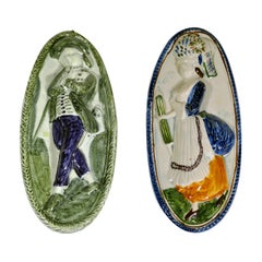 Two English Pearlware Plaques, Jack on a Cruise and Lady, Late 18th Century