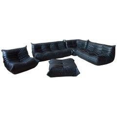 Black Leather Togo Living Room Set by Michel Ducaroy for Ligne Roset, 1970s