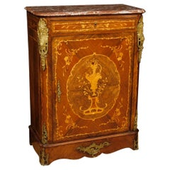 19th Century Inlaid Wood with Marble Top French Sideboard, 1880